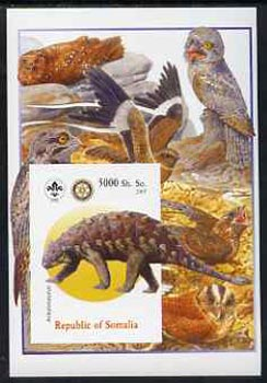 Somalia 2005 Dinosaurs #02 - Ankylosaurus imperf m/sheet with Scout & Rotary Logos, background shows various Birds unmounted mint