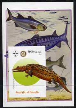 Somalia 2005 Dinosaurs #03 - Peltobatrachus imperf m/sheet with Scout & Rotary Logos, background shows various Fish unmounted mint