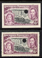 Southern Rhodesia 1937 KG6 Coronation 6d perf & imperf proof in issued colours each with security punch hole, as SG 39