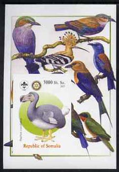 Somalia 2005 Dinosaurs #05 - Raphus cucullatus imperf m/sheet with Scout & Rotary Logos, background shows various Birds unmounted mint