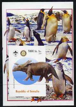 Somalia 2005 Dinosaurs #07 - Anchiceratops imperf m/sheet with Scout & Rotary Logos, background shows Penguins unmounted mint