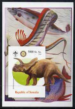 Somalia 2005 Dinosaurs #08 - Arrhinoceratops imperf m/sheet with Scout & Rotary Logos, background shows various Fish unmounted mint