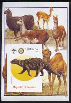 Somalia 2005 Dinosaurs #09 - Silvisaurus imperf m/sheet with Scout & Rotary Logos, background shows Llamas & Camels unmounted mint