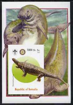 Somalia 2005 Dinosaurs #10 - Desmatosuchus imperf m/sheet with Scout & Rotary Logos, background shows Seals unmounted mint