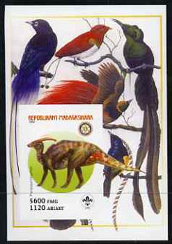Madagascar 2005 Dinosaurs #01 - Parasaurolophus imperf m/sheet with Scout & Rotary Logos, background shows Birds of Paradise unmounted mint