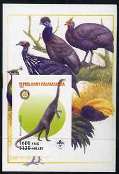 Madagascar 2005 Dinosaurs #02 - Massospondylus imperf m/sheet with Scout & Rotary Logos, background shows various Fowl unmounted mint