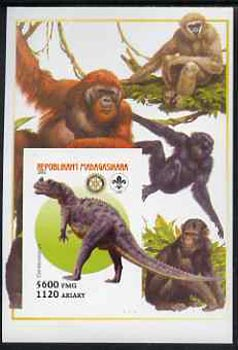 Madagascar 2005 Dinosaurs #03 - Ceratosaurus imperf m/sheet with Scout & Rotary Logos, background shows various Apes unmounted mint