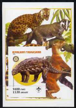 Madagascar 2005 Dinosaurs #05 - Hylaeosaurus imperf m/sheet with Scout & Rotary Logos, background shows various Big Cats unmounted mint