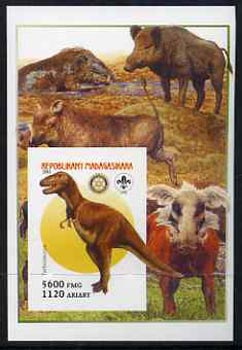 Madagascar 2005 Dinosaurs #06 - Tarbosaurus imperf m/sheet with Scout & Rotary Logos, background shows various Boars unmounted mint