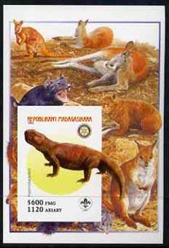 Madagascar 2005 Dinosaurs #10 - Hyperodapedon imperf m/sheet with Scout & Rotary Logos, background shows various Kangaroos unmounted mint