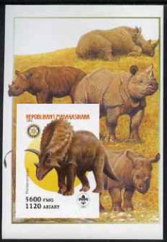 Madagascar 2005 Dinosaurs #11 - Pentaceratops imperf m/sheet with Scout & Rotary Logos, background shows Rhinos unmounted mint