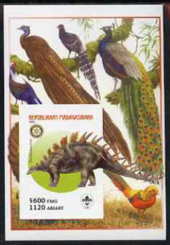 Madagascar 2005 Dinosaurs #12 - Kentrosaurus imperf m/sheet with Scout & Rotary Logos, background shows Birds of Paradise unmounted mint