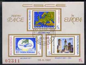 Rumania 1981 Conference for Security & Co-operation in Europe, imperf m/sheet fine used, Mi BL183, stamps on europa, stamps on aviation, stamps on maps