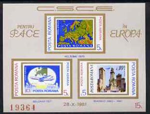 Rumania 1981 Conference for Security & Co-operation in Europe, imperf m/sheet superb unmounted mint, Mi BL183, stamps on europa, stamps on aviation, stamps on maps