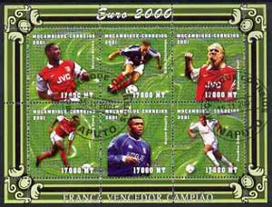 Mozambique 2001 Euro 2000 Football Championship perf sheetlet #1 (France) containing 6 values fine cto used Mi 1956-61