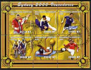 Mozambique 2001 Sydney Olympics perf sheetlet #3 containing 6 values fine cto used (Tennis, Judo, Table Tennis, Cycling, Water Polo & Football)