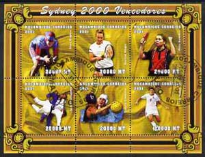 Mozambique 2001 Sydney Olympics perf sheetlet #4 containing 6 values fine cto used (Cycling, Judo, Table Tennis, Tennis, Water Polo & Football) Mi 1912-17