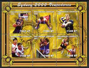 Mozambique 2001 Sydney Olympics perf sheetlet #5 containing 6 values fine cto used (Tennis, Basketball, Rings, Volleyball & Table Tennis) Mi1906-11