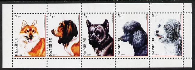Marij El Republic 2000 Dogs perf sheetlet containing 5 values unmounted mint, stamps on dogs