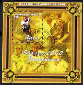 Mozambique 2001 Sydney Olympics perf s/sheet #1 showing Andre Agassi (Tennis) cto used