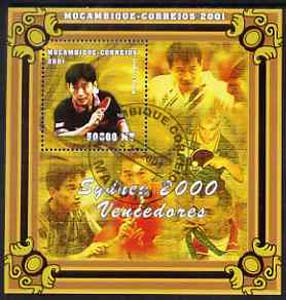 Mozambique 2001 Sydney Olympics perf s/sheet #3 showing Kong Linghui (Table Tennis) cto used