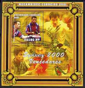 Mozambique 2001 Sydney Olympics perf s/sheet #5 showing Christophe Legout & Damien Eldi (Table Tennis) cto used