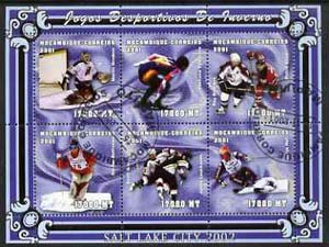 Mozambique 2001 Salt Lake Winter Olympics perf sheetlet #2 containing 6 values fine cto used Mi 1964-69