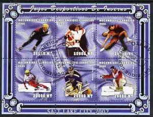Mozambique 2001 Salt Lake Winter Olympics perf sheetlet #3 containing 6 values fine cto used