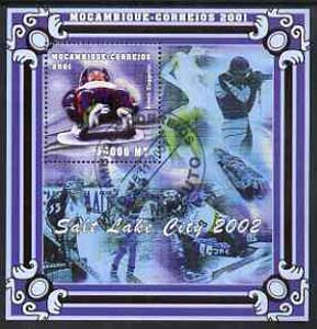Mozambique 2001 Salt Lake Winter Olympics perf s/sheet #1 showing Armin Zoggeler (Bobsled) fine cto used