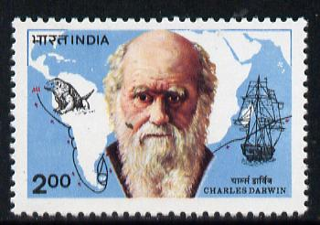 India 1983 Charles Darwin (with Map of Voyage, Ship & Animal) mounted mint SG 1085