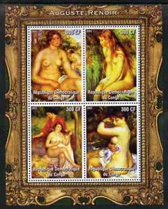 Congo 2005 Nude Paintings by Renoir perf sheetlet containing 4 values unmounted mint