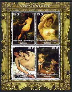 Congo 2005 Nude Paintings by Courbet perf sheetlet containing 4 values unmounted mint