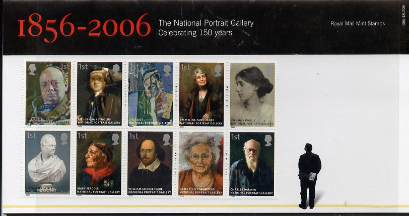 Great Britain 2006 150th Anniversary of National Portrtait Gallery se-tenant block of 10 in official presentation pack unmounted mint SG 2640a