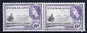 Nyasaland 1953-54 Tea Estate 6d P12 x 12.5 (from def set) coil join pair unmounted mint, as SG 180a