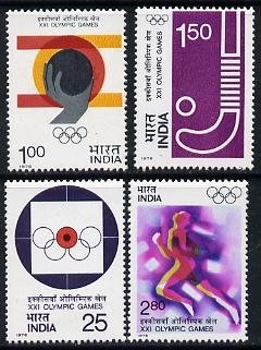 India 1976 Olympic Games (Montreal) set of 4 (Shooting, Shot, Hockey & Sprinting) unmounted mint SG 814-17