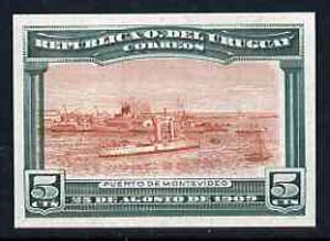 Uruguay 1909 Cruiser in Port Montevideo 5c imperf colour trial proof in red-brown & green on enamelled card, as SG 283