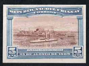 Uruguay 1909 Cruiser in Port Montevideo 5c imperf colour trial proof in red-brown & blue on enamelled card, as SG 283