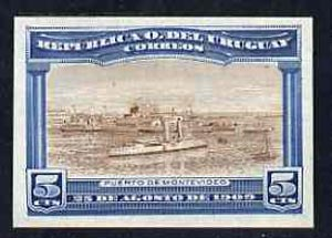 Uruguay 1909 Cruiser in Port Montevideo 5c imperf colour trial proof in yellow-brown & blue on enamelled card, as SG 283