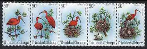 Trinidad & Tobago 1980 Scarlet Ibis se-tenant strip of 5 unmounted mint SG 563a