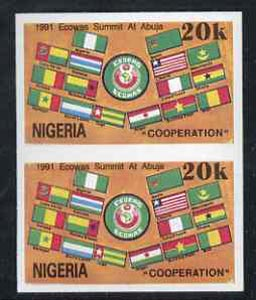 Nigeria 1991 Economic Commission of West African States Summit (ECOWAS) 20k imperf pair unmounted mint, SG 610var