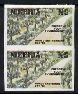 Nigeria 1993 World Environment Day 5n Forest Road imperf pair unmounted mint, SG 657var