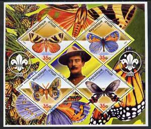 Haiti 2005 Butterflies perf sheetlet containing 4 diamond shaped values plus label showing Baden Powell, unmounted mint