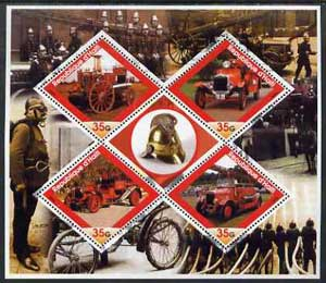 Haiti 2005 Early Fire Engines perf sheetlet containing 4 diamond shaped values plus label, unmounted mint