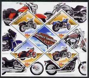 Haiti 2005 Harley Davidson Motorcycles perf sheetlet containing 4 diamond shaped values plus label, unmounted mint
