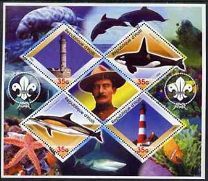 Haiti 2005 Dolphins, Marine Life & Lighthouses perf sheetlet containing 4 diamond shaped values plus label showing Baden Powell, unmounted mint