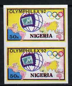 Nigeria 1992 'Olymphilex 92' Olympic Stamp Exhibition 50k imperf pair unmounted mint, SG 630var