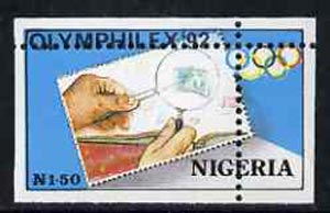 Nigeria 1992 'Olymphilex 92' Olympic Stamp Exhibition 1n50 with vert & horiz perfs misplaced, divided along margins so stamps are quartered unmounted mint SG 631var