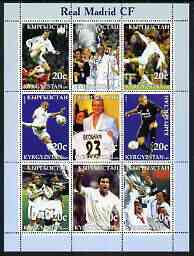 Kyrgyzstan 2003 Real Madrid Football Club perf sheetlet containing 9 values unmounted mint