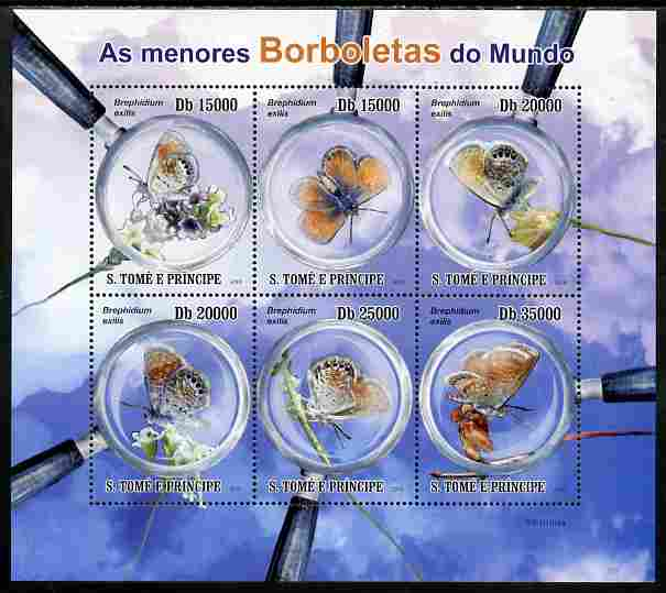 St Thomas & Prince Islands 2010 Smallest Butterflies perf sheetlet containing 6 values unmounted mint
