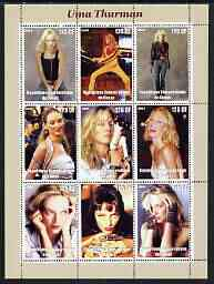 Congo 2003 Uma Thurman perf sheetlet containing 9 values unmounted mint